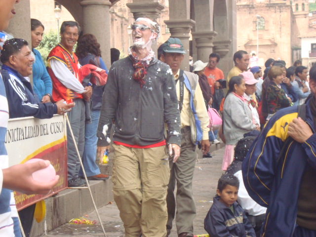 Tourists Sprayed with Foam during Carnival, Cuzco