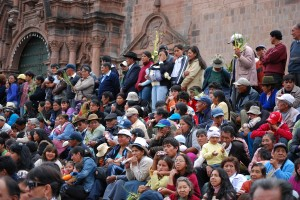 Crowd Watching Entrance of Dance Troupes, Palm Sunday