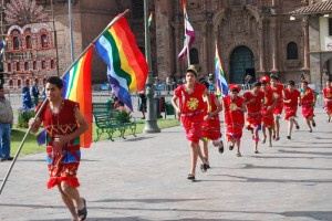 Running in Costume through Cuzco's Main Square
