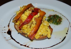 Scrambled Eggs, Sausage, Mushrooms and Roasted Peppers on Toasted Peasant Bread