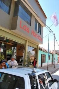Marca Peru Flag over Restaurant