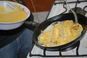 Battering and Frying Yuca