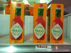 Louisiana Tabasco on Supermarket Shelf, Downtown Cuzco
