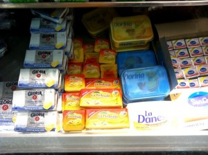 Packaged Butter in the Supermarket Cooler