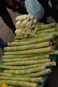 Sugar Cane, Peeled and Unpeeled