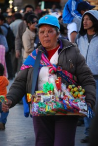 Candy Seller Working the Crowd