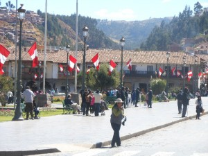 Flags on the Plaza de Armas
