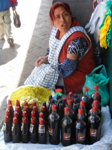 Selling Wine for the Pachamama at the Market