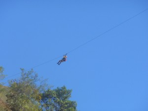 Man on ZipLine From Santa Teresa to Cocalmayo