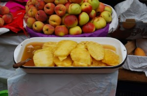 Sliced Pineapple and Whole Apples