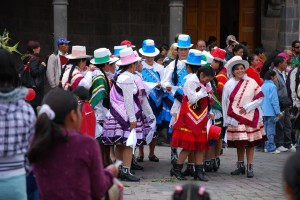Women from Cuzco Preparing to Dance in the Plaza