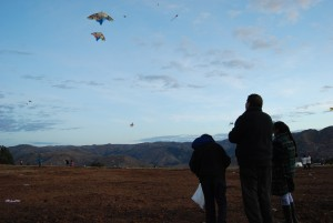 A Family Flying Kites in Sacsayhuaman