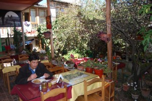 Eating by the Restaurant's Patio Garden