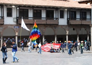 Marchers with Flags Protesting in Cuzco, August 22 2012