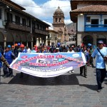 Marchers Entering Cuzco's Plaza de Armas Wednesday, July 22, 2012