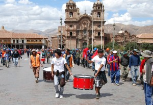 Marchers an Bass Drums in Cuzco's Main Square, August 22, 2012