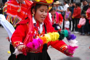 Woman from Cuzco Dancing in Costume in the Plaza