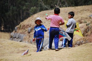 Students Playing with Fly Kites