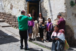 "Taking a Picture In the "" Cuesta San Blas"" Street"