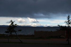 Titicaca Lake and Behind Snow Clad Mountains