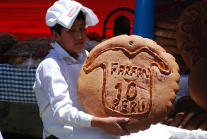 A bread Decorated with a Shirt of the best Soccer Player of Peru
