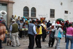 Musicians Playing and People Dancing in a Feast