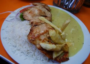 Filette of Baked Chicken with Mashed Potatoes and Rice