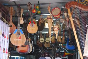Traditional String Instruments in a Music Shop in Cuzco