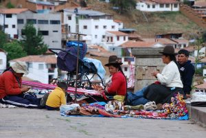 Family Selling Hanidcrafts in Street