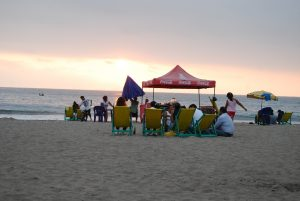 Enjoying the Beach in Lima Even into Sunset