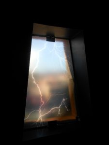 The God Lightning Illustrated on a Window