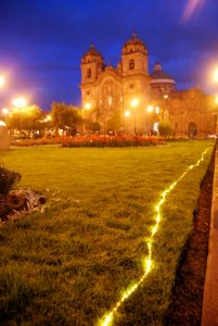 Lights on the Plaza de Armas at Dusk