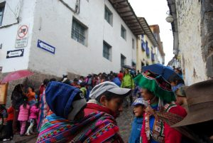 Women and their Sons from Rural Cuzco Who Came for Hot Chocolate and Toys