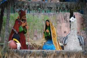 Joseph, Mary, a Llama, and an Empty manger