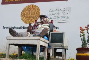 A Compadre Doll with his Computer and Beer in San Blas