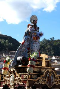 One of Cuzco's Saints (San Antonio) on Procession through The City