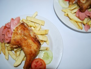Pollipapa, Fried Chicken, Franks, and French Fries, with Salad