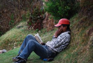 Reading and Relaxing in the Sacsayhuaman Park