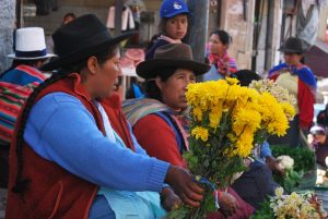 Women from Country Side Selling Flowers outside the Market