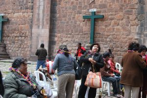 Celebrating Comadres Day by Cuzco's Cathedral