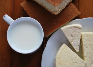 A Cup of MIlk, Bread, and Cheese