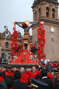 Lord of Temblors Processes through Cuzco on Holy Monday