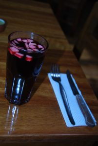 Chicha Morada with Diced Apple