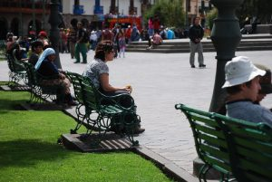 Enjoying the Benches in the Plaza