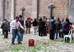 Celebrating a Feast by the Side of Cuzco's Cathedral