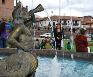 A Mermaid Spouting Water in the Plaza de Armas of Cuzco