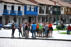 Tourists Enjoying Cuzco's Plaza