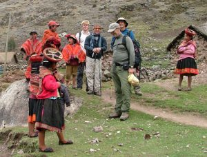 Tourists and Lares people Sharing the last Moments Before Leaving