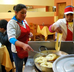 Frying Up Fresh Picarones on Ruinas Street