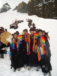 Edson Rios Huaman and Fellow Pablitos on the Snow Field
